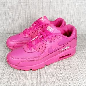 Nike Air Max 90 GS Laser Fuchsia Leather Shoes 8.5